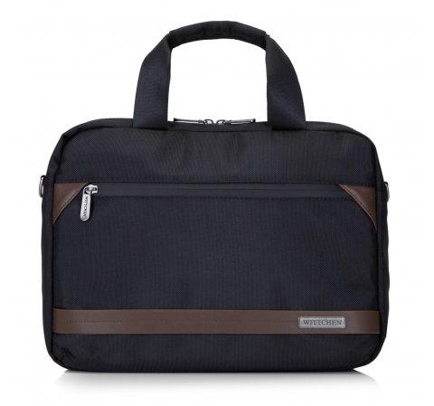 """Męska torba na laptopa 13"""" z krytym suwakiem mała, czarno - brązowy, 92-3P-107-15, Zdjęcie 1"""