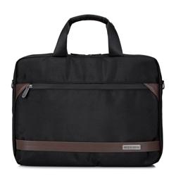 """Męska torba na laptopa 15,6"""" z krytym suwakiem duża, czarno - brązowy, 92-3P-106-15, Zdjęcie 1"""