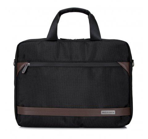 """Męska torba na laptopa 15,6"""" z krytym suwakiem duża, czarno - brązowy, 92-3P-106-1, Zdjęcie 1"""