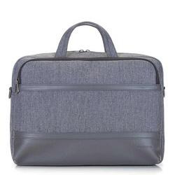 "Męska torba na laptopa 15,6"" z panelem z ekoskóry, szary, 92-3P-505-8, Zdjęcie 1"
