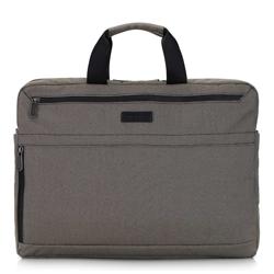 """Męska torba na laptopa 17"""" z boczną kieszenią duża, beżowo - czarny, 92-3P-101-8, Zdjęcie 1"""