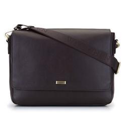 Męska torba na laptopa z miękkiej skóry z klapą, , 92-4U-301-4, Zdjęcie 1