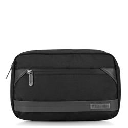 Męska torebka nerka z krytym suwakiem, czarny, 92-3P-108-1, Zdjęcie 1
