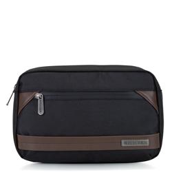 Męska torebka nerka z krytym suwakiem, czarno - brązowy, 92-3P-108-15, Zdjęcie 1