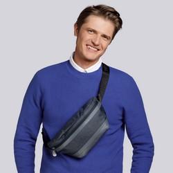 Męska torebka nerka z panelem z ekoskóry, grafitowy, 92-3P-506-1, Zdjęcie 1