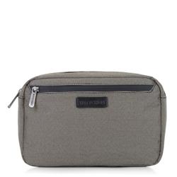 Męska torebka nerka z przednią kieszenią, beżowo - czarny, 92-3P-103-8, Zdjęcie 1