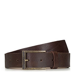 Men's leather belt with a vintage buckle, brown, 91-8M-325-4-90, Photo 1