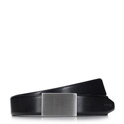 Męski pasek skórzany z zakrytą klamrą, czarny, 92-8M-950-1-12, Zdjęcie 1