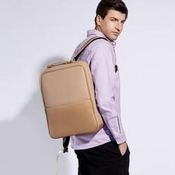 """Męski plecak na laptopa 13/14"""" z gładką kieszenią, beżowo - srebrny, 92-3P-501-5, Zdjęcie 1"""