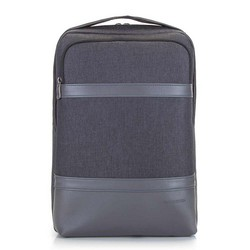 "Męski plecak na laptopa 13/14"" z panelem z ekoskóry, czarny, 92-3P-504-1, Zdjęcie 1"