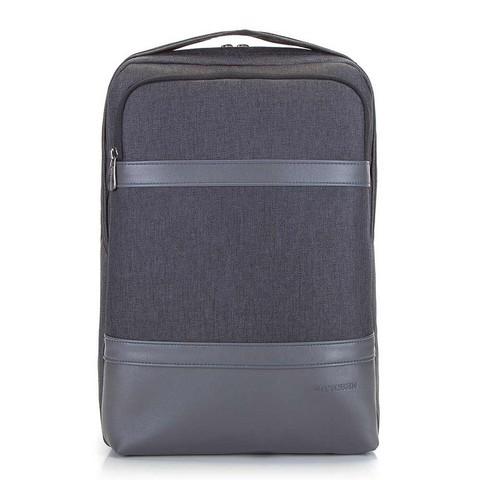 """Męski plecak na laptopa 13/14"""" z panelem z ekoskóry, grafitowy, 92-3P-504-1, Zdjęcie 1"""