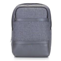 """Męski plecak na laptopa 13/14"""" z panelem z ekoskóry, szary, 92-3P-504-8, Zdjęcie 1"""