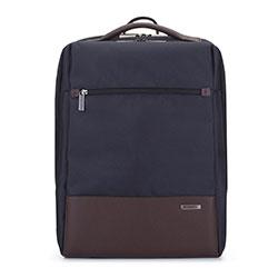 """Męski plecak na laptopa 15,6"""" kostka, granatowo - brązowy, 93-3U-904-17, Zdjęcie 1"""