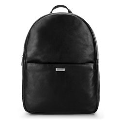 Męski plecak na laptopa z miękkiej skóry, czarny, 92-3U-310-10, Zdjęcie 1