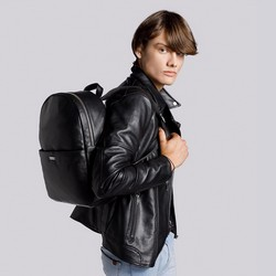 Męski plecak na laptopa z miękkiej skóry, czarno - srebrny, 92-3U-310-1, Zdjęcie 1