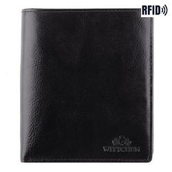 Męski portfel skórzany duży, czarno - złoty, 21-1-139-L10, Zdjęcie 1