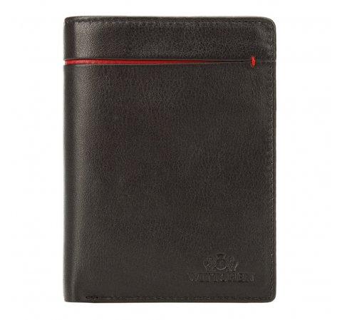 Męski portfel skórzany z rozcięciem, czarno - czerwony, 21-1-492-1N, Zdjęcie 1