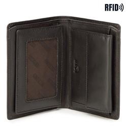 Męski portfel skórzany z rozcięciem, czarno - czerwony, 21-1-492-13, Zdjęcie 1