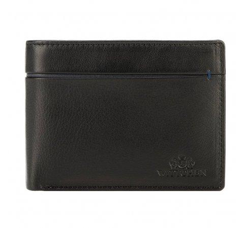 Męski portfel ze skóry z rozcięciem, czarno - granatowy, 21-1-491-13, Zdjęcie 1