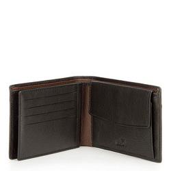 Męski portfel ze skóry z rozcięciem, czarno - brązowy, 21-1-491-14, Zdjęcie 1