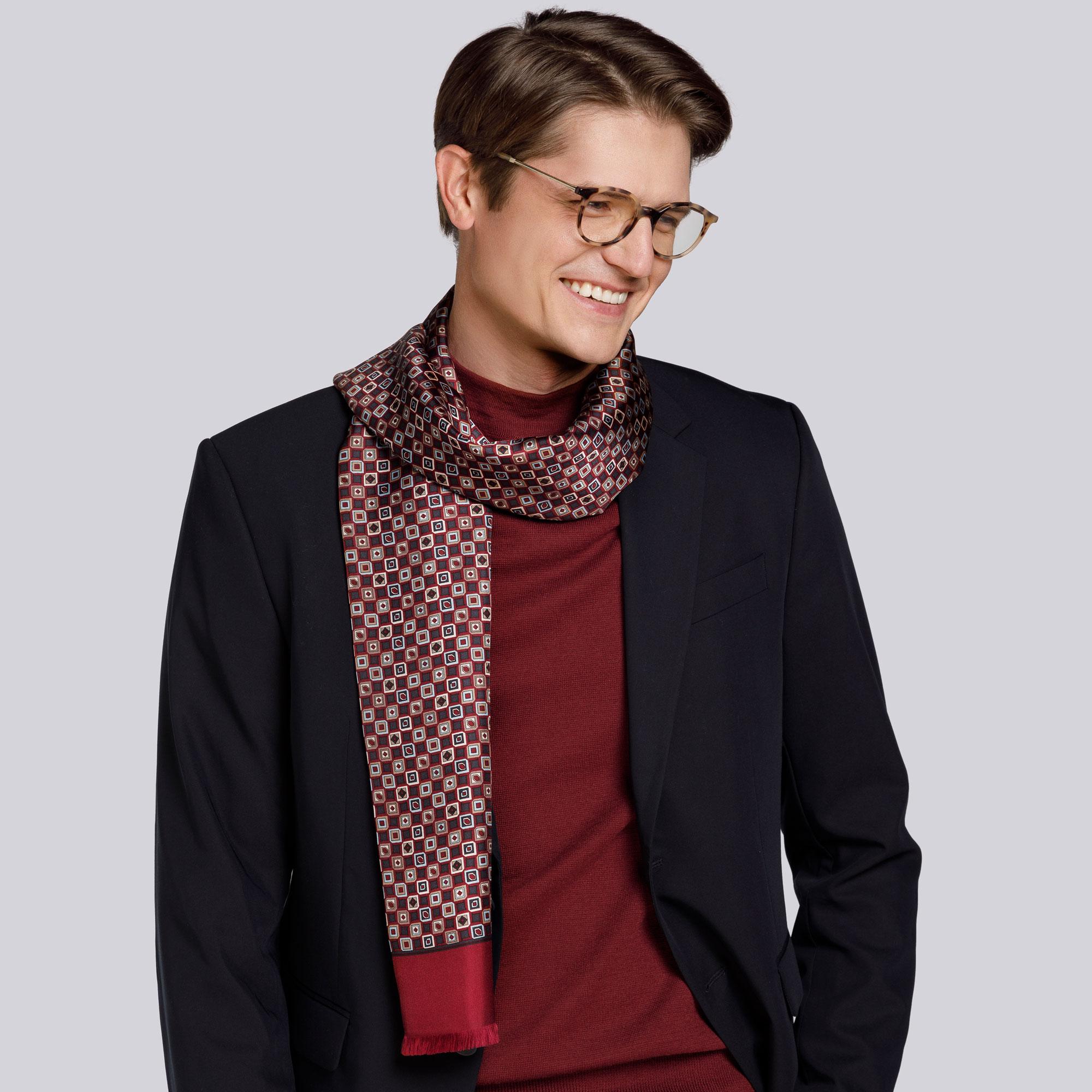 Men's silk scarf, burgundy-grey, 93-7M-S41-3, Photo 1