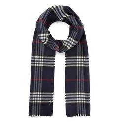 Men's thin checkered scarf, navy blue-white, 91-7M-X02-X2, Photo 1