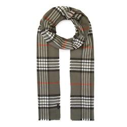 Men's checkered scarf, khaki green, 91-7M-X20-X1, Photo 1