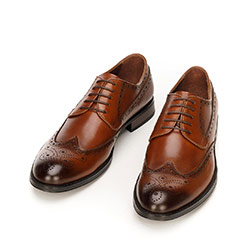 Men's classic leather brogues, brown, 92-M-919-5-39, Photo 1