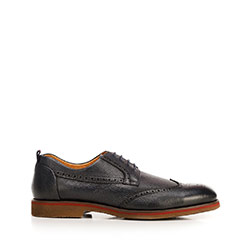 Men's leather brogues with red stripe, navy blue, 92-M-920-7-41, Photo 1