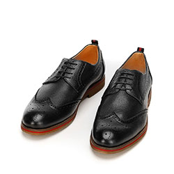 Men's leather brogues with red stripe, black, 92-M-920-1-43, Photo 1