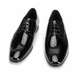 Męskie derby ze skóry lakierowanej, czarno - srebrny, 93-M-519-1G-42, Zdjęcie 1