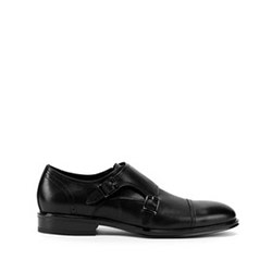 Leather monk shoes with double strap, black, 93-M-518-1-42, Photo 1