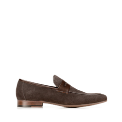 penny loafers, dark brown - light brown, 92-M-507-8-43, Photo 1