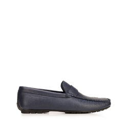Men's leather penny loafers, navy blue, 92-M-904-7-43, Photo 1