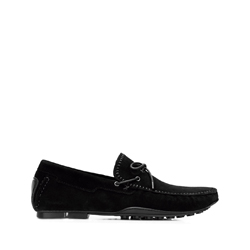 Men's suede driver loafers, black, 92-M-903-1-45, Photo 1