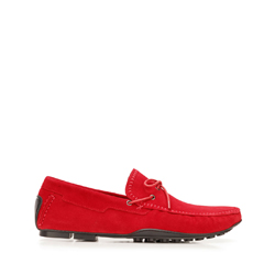 Men's suede driver loafers, red, 92-M-903-3-44, Photo 1