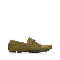 Men's suede driver loafers, olive, 92-M-903-Z-44, Photo 1