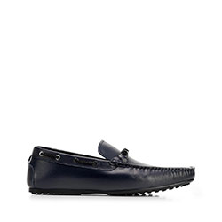 Men's leather driver loafers, navy blue, 92-M-921-7-45, Photo 1