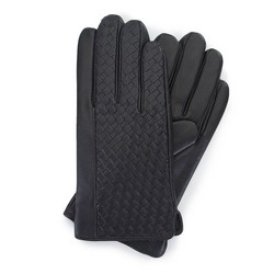 Męskie rękawiczki z plecionej skóry, czarny, 39-6-345-1-M, Zdjęcie 1
