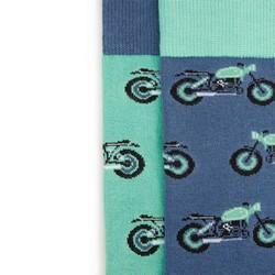 Męskie skarpetki we wzór motocykli – zestaw 2 par, zielono - niebieski, 93-SK-001-X1-40/42, Zdjęcie 1