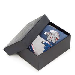 Męskie skarpetki we wzór trampek – zestaw 2 par, szaro - niebieski, 93-SK-003-X1-43/45, Zdjęcie 1