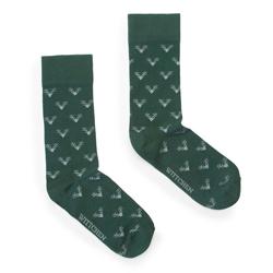 Men's antler socks, dark green, 91-SK-008-X2-40/42, Photo 1