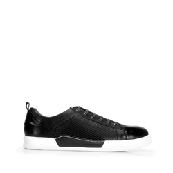 Męskie sneakersy skórzane na białej podeszwie, czarny, 92-M-900-1-43, Zdjęcie 1