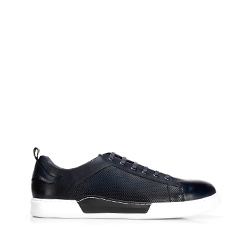 Męskie sneakersy skórzane na białej podeszwie, granatowy, 92-M-900-7-40, Zdjęcie 1