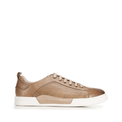 Męskie sneakersy skórzane na białej podeszwie, beżowy, 92-M-900-9-42, Zdjęcie 1