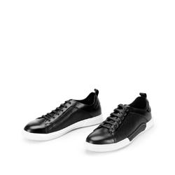 Męskie sneakersy skórzane na białej podeszwie, czarny, 92-M-900-1-39, Zdjęcie 1