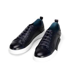 Męskie sneakersy skórzane na białej podeszwie, granatowy, 92-M-900-7-41, Zdjęcie 1