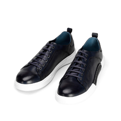 Męskie sneakersy skórzane na białej podeszwie, granatowy, 92-M-900-7-42, Zdjęcie 1