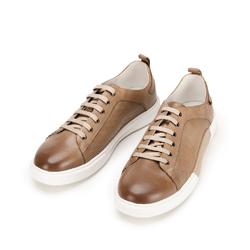 Męskie sneakersy skórzane na białej podeszwie, beżowo - srebrny, 92-M-900-9-43, Zdjęcie 1