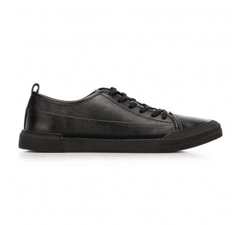 Męskie sneakersy skórzane o kroju trampek, czarny, 92-M-911-1-39, Zdjęcie 1